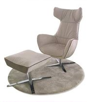Contemporary armchair / with footrest / wing / star base