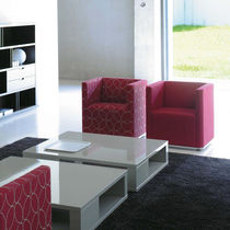 Contemporary armchair / fabric / on casters / for public buildings