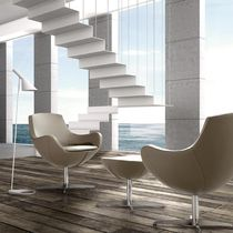 Contemporary armchair / metal / leather / swivel