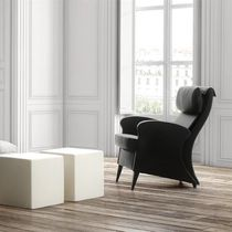 Contemporary armchair / with footrest / with headrest / leather