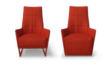 Contemporary armchair / fabric / cantilever
