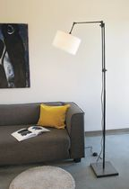 Floor-standing lamp / contemporary / brass / cotton