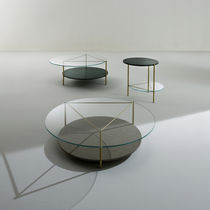 Contemporary pedestal table / crystal / brass / marble