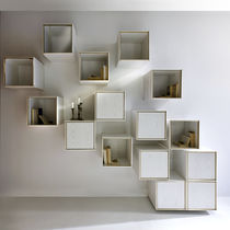 Wall-mounted shelf / contemporary / wooden / with storage compartment