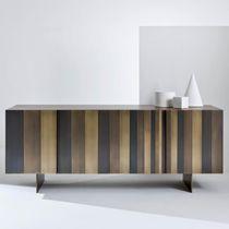 Contemporary sideboard / walnut / metal