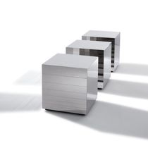 Contemporary coffee table / polished steel / cube-shaped / square