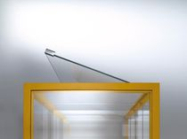 Contemporary display case / with long legs / glass / steel