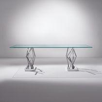 Contemporary table / glass / rectangular / transparent