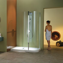 Fixed shower screen / curved / angle / glass
