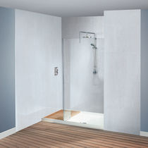 Fixed shower screen / for alcove / glass