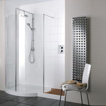 Fixed shower screen / curved / for alcove / glass