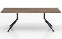 Contemporary table / wooden / aluminum / rectangular