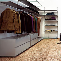 Wall-mounted walk-in wardrobe / contemporary / wooden / custom