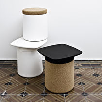 Contemporary side table / plastic / square / garden