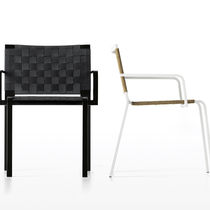 Contemporary garden chair / with armrests / sled base / in polyester mesh
