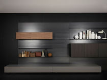 Wall-mounted bookcase / contemporary / wooden / metal