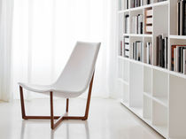 Contemporary lounge chair / leather / ash / walnut