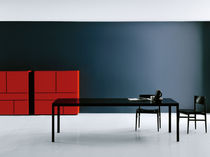 Rectangular table / contemporary / wood / glass