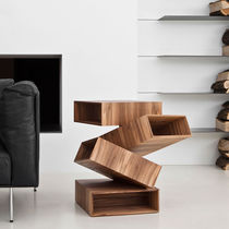 Original design side table / wooden / metal / square