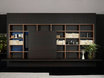 Contemporary bookcase / for offices / lacquered wood / aluminum
