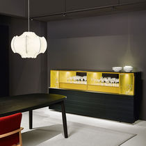 Contemporary sideboard / metal / with shelf / black