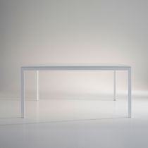 Contemporary table / glass / wooden / marble