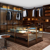 Contemporary display case / metal / glass / wooden