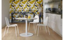 Contemporary table / steel / round / for restaurants