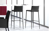 Contemporary bar chair / steel / upholstered