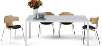 Contemporary dining table / metal / rectangular / commercial