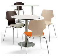 Contemporary table / stainless steel / PVC / for public buildings