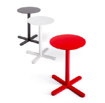 Contemporary pedestal table / lacquered metal / commercial
