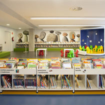 Contemporary bookcase / for schools / wooden