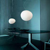 Pendant lamp / contemporary / lacquered metal / blown glass