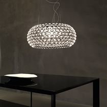 Pendant lamp / contemporary / chromed metal / blown glass