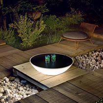 Contemporary side table / polyethylene / round / garden