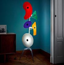 Floor-standing lamp / original design / lacquered metal / glass