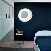 Contemporary wall light / polycarbonate / fluorescent / round