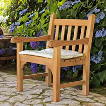 Traditional armchair / teak / garden