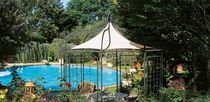 Wrought iron gazebo / fabric roof