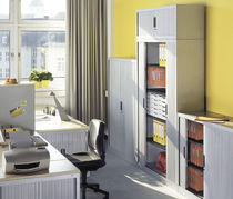 Low filing cabinet / tall / steel / with sliding door