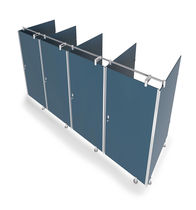 Public sanitary facility toilet cubicle / for public spaces / glass