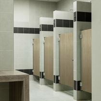 HPL shower cubicle / for public sanitary facilities / rectangular / with hinged door