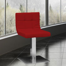 Contemporary visitor chair / upholstered / swivel / central base