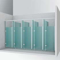 Glass shower cubicle / for public sanitary facilities / rectangular / with hinged door