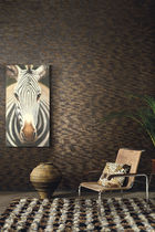 Contemporary wallpaper / natural fiber / nature pattern / black
