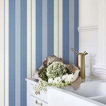 Contemporary wallpaper / striped / blue