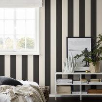 Contemporary wallpaper / striped / gray / black