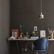 Contemporary wallpaper / geometric / blue / brown