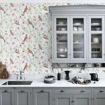 Traditional wallpaper / patterned / white / gray